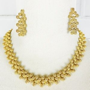 1980's Costume Jewelry Gold Set High Neck Lace